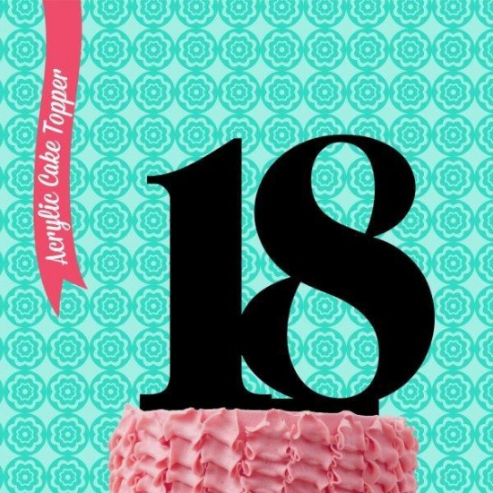 Number 18 Acrylic Cake Topper