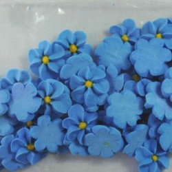 50 Blue Icing Drop Flowers