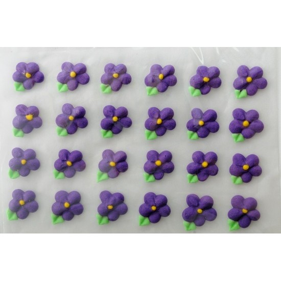 24 Icing Flowers with Leaves (purple)