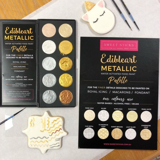 Edible Art Paint - Metallic Water Activated Palette