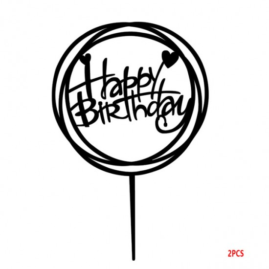 Happy Birthday Round Swirl Acrylic Cake Topper