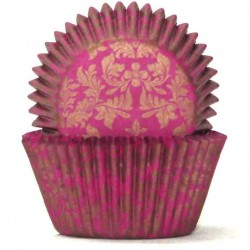 High Tea Cupcake Cases / Baking Cups - Pink/Gold 100