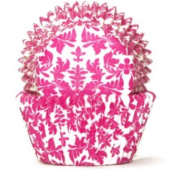High Tea Cupcake Cases / Baking Cups - Pink/White 100