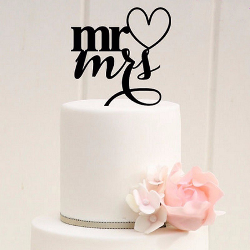 Mr Mrs Acrylic Cake Topper