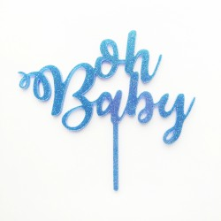 Caketastic Oh Baby Acrylic Glitter Cake Topper - Blue