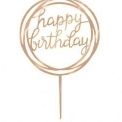 Happy Birthday Round Swirl Acrylic Cake Topper - Rose Gold