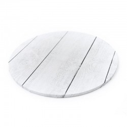 "10"" Round White Planks Look Cake Board"