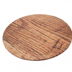 "10"" Round Wood Look Cake Board"